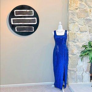 Vintage 90's Iconic Royal Blue Sequin Dress 9/10